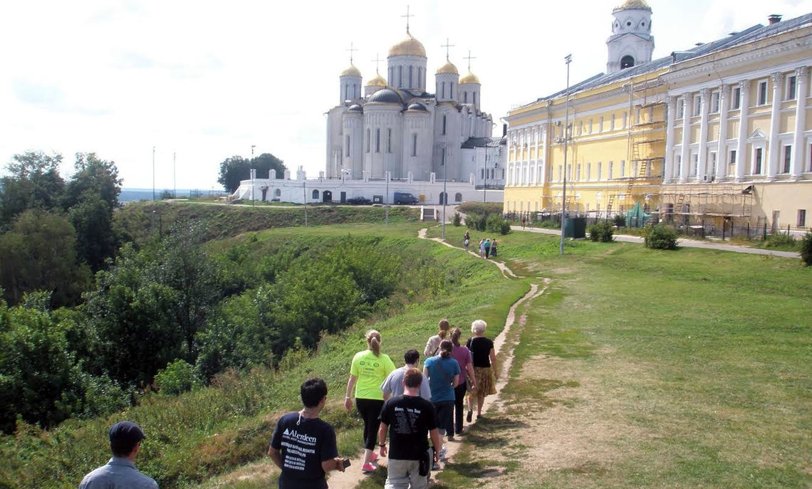Students venture to the Assumption Cathedral in the western Russian city of Vladimir, where Assistant Professor of Russian and Russian Studies Jon Stone led students in the summer of 2012.