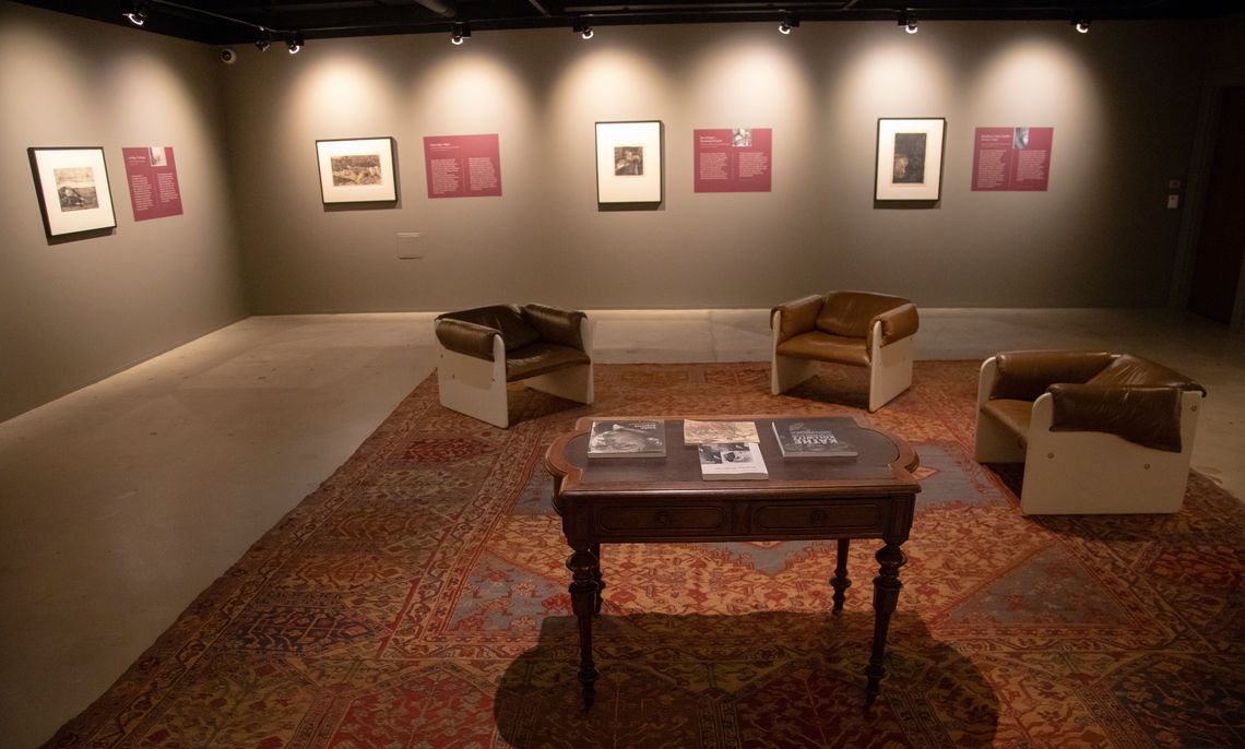 "Photograph of the Gibson Curriculum Gallery during the exhibition ""Käthe Kollwitz: Bauernkrieg / Peasant War"" on loan from the Trout Gallery at Dickinson College, Photograph by Deb Grove"