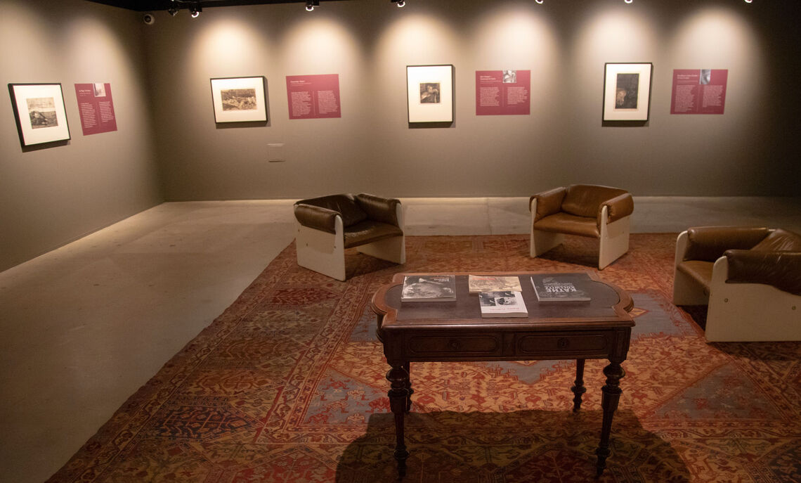 """Photograph of the Gibson Curriculum Gallery during the exhibition """"Käthe Kollwitz: Bauernkrieg / Peasant War"""" on loan from the Trout Gallery at Dickinson College, Photograph by Deb Grove"""