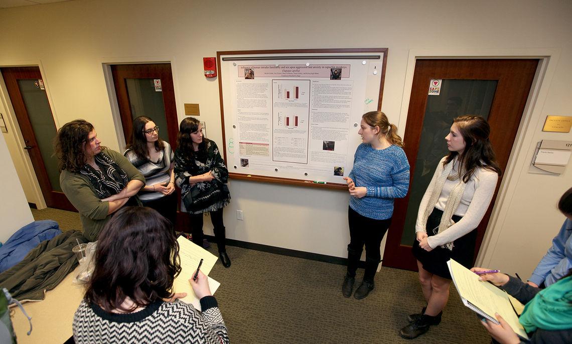 """Students Rachel Felder, Zoe Finiasz, Jenny Friedman, Tessa Grebey and Kelseyleigh Reber discussion their project, """"Influence of Human Intruder Familiarity and Sex Upon Aggression and Anxiety in Capuchin Monkeys (Sapajus paella)."""""""