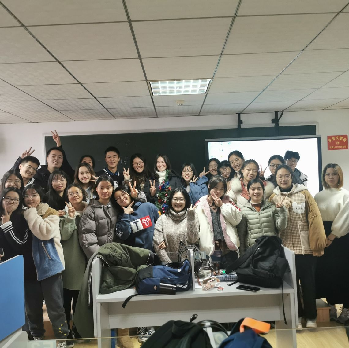 Chappell with Wuhan University of Technology students on their last day of fall class.
