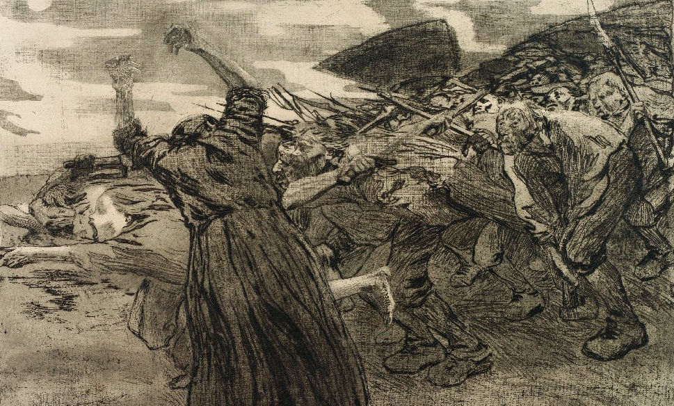 Käthe Kollwitz, Lorsbruch / Outbreak, 1906, etching, courtesy of the Trout Gallery, Dickinson College