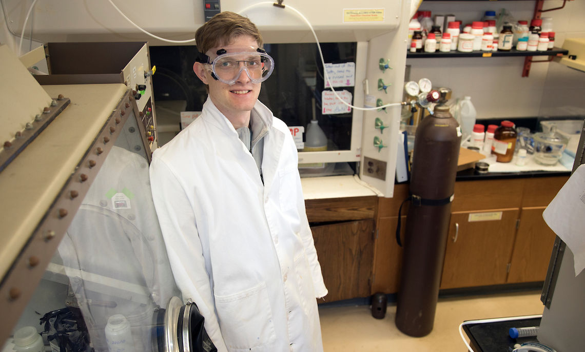 "F&M sophomore Nathan Miller conducts experiments to understand how molybdenum works its way into ocean sediments. ""Essentially, we try to synthesize what we hope are compounds similar to what's in the sediment, specifically iron sulfides,"" the chemistry major says."