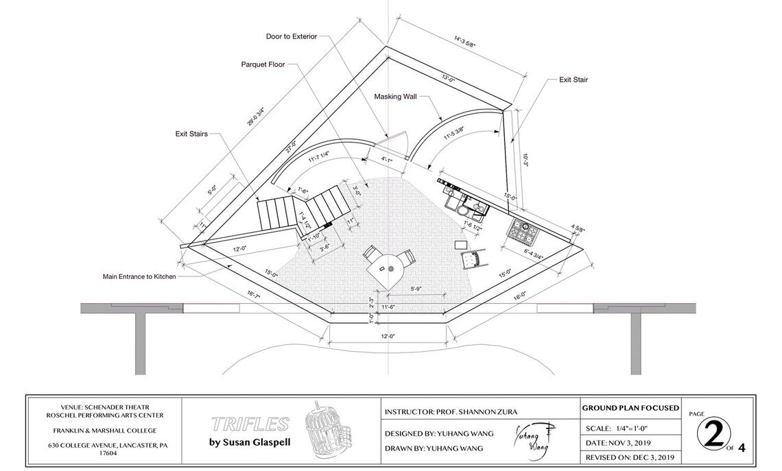 "Scenic design by Yuhang Wang for ""Trifles,"" a one-act play written by Susan Glaspell. Ground plan."