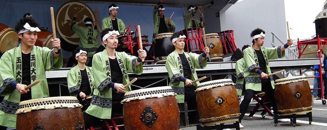 Drumers of the Tamagawa University dance and taiko group.