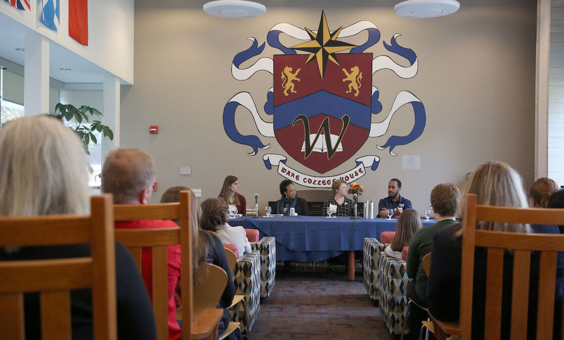 At Ware College House's Great Room, a panel discussed the benefits a liberal arts education provides in careers and lives after graduation. The participants from left are: Elizabeth Ressler '07, Latanya Jenkins '99, Jennifer Schlener '94 and Keiran Miller '15.