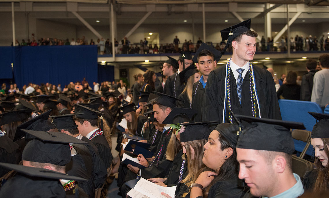 Eager soon-to-be-graduates line up to receive their diplomas during F&M's Commencement ceremony.
