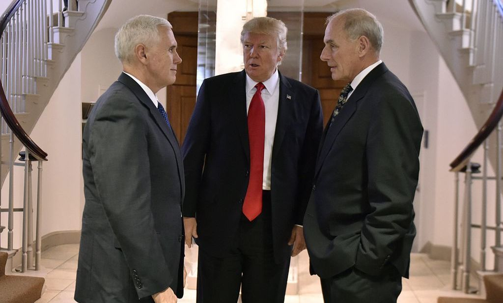 Trump, conferring in January 2017 with Vice President Mike Pence and then Secretary of Homeland Security John Kelly, who is now the president's chief of staff.