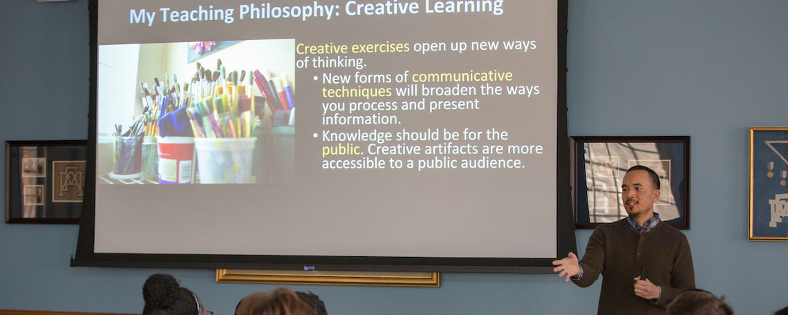 "Professor Mark Villegas shares his teaching philosophy at the event ""Futurism: Now"" held at the Shadek-Fackenthal Library."