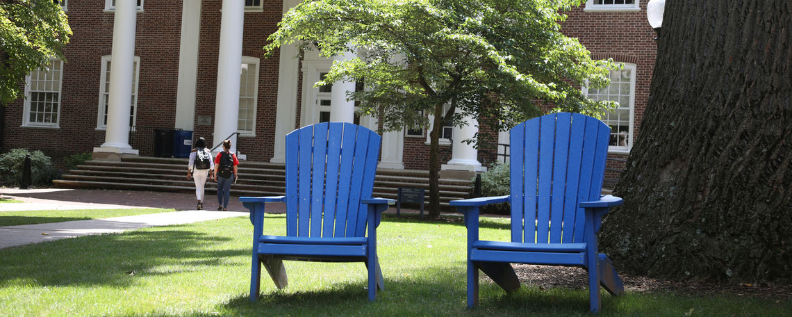 Blue chairs in front of the library in August