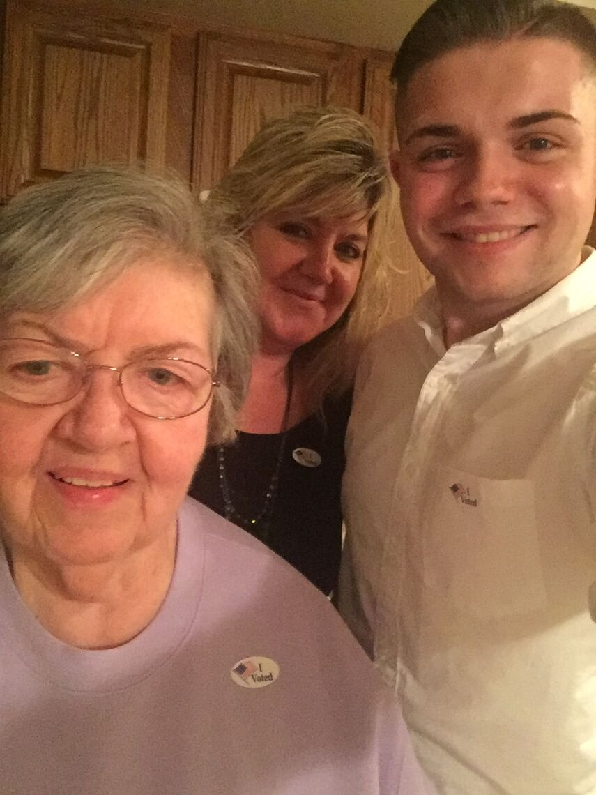 Griffin Sneath shares a moment with his grandmother, Susanne Lewis (née Zirner), and his mother, Cyndi Sneath.