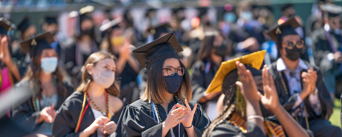 Members of the Class of 2021 celebrate during F&M Commencement held May 15 at Lancaster Clipper Stadium.