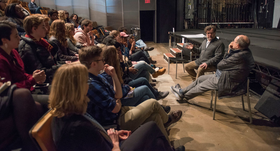"F&M students traveled to New York with the Writers House to see playwright Kenneth Lonergan's ""Lobby Hero."" They also met with the playwright and James Lapine '71 for a talkback."