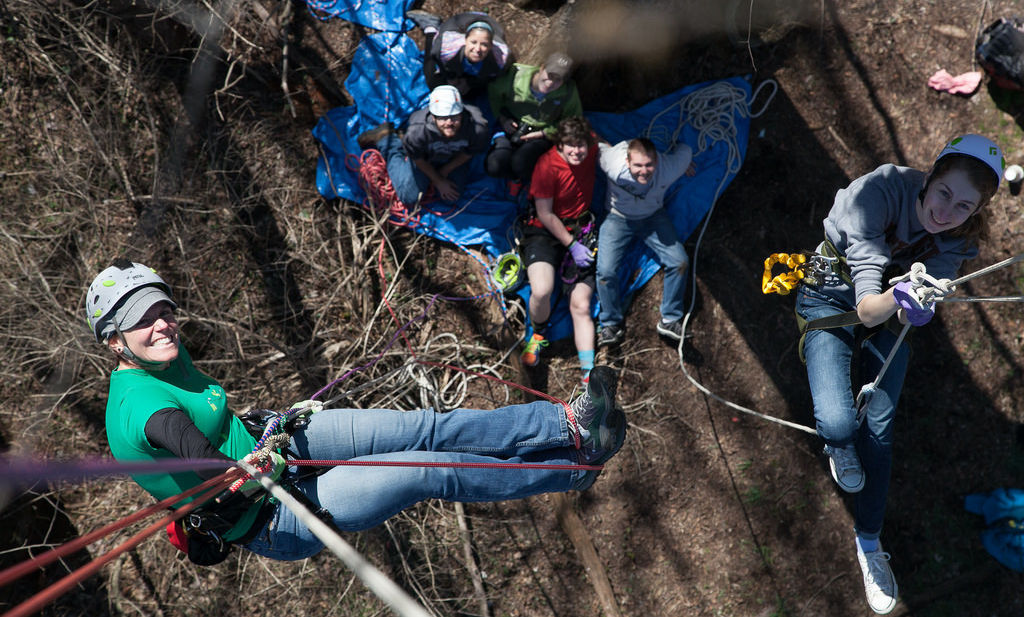 F&M students climb trees at Baker Campus with Professor Sybil Gotsch in practice for climbing in Costa Rica where they will travel for the summer to study plants living in the canopy of the rainforest.