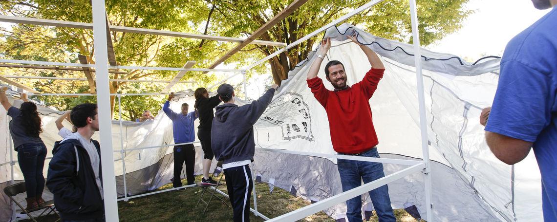 Raising the Sukkah