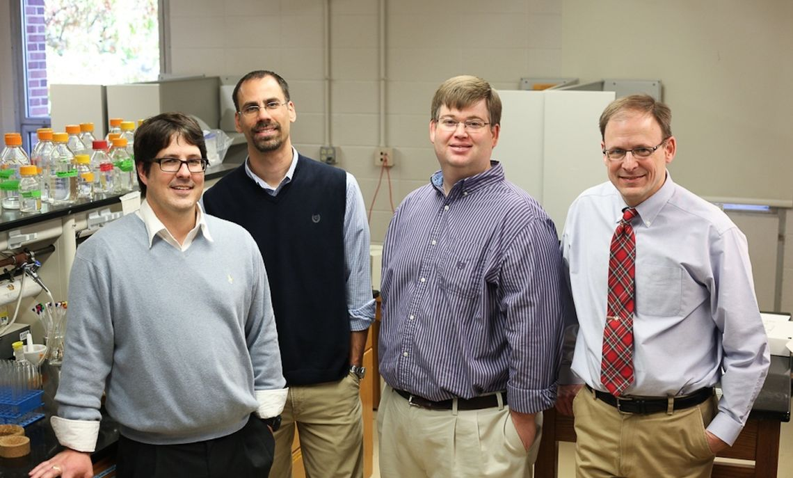 Together, these four Franklin & Marshall faculty members, (left to right) Assistant Professors of Biology Beckley Davis and David Roberts and Associate Professors of Chemistry Scott Brewer and Ed Fenlon, won nearly $800,000 in funding from the National Institutes of Health, and at a time when federal grants are becoming scarce.