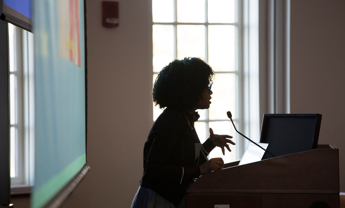 Rakia Reynolds presents the keynote address during the annual Creativity & Innovation Symposium in the Ann and Richard Barshinger Life Sciences & Philosophy Building.