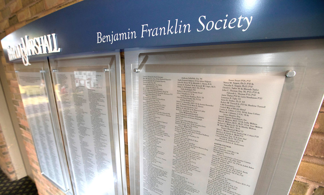 The Benjamin Franklin Society plaque in Steinman College Center 2.26.18.