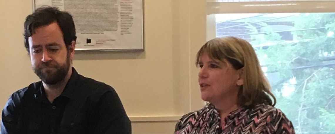 Linda Musumeci, American Philosophical Society Director of Grants and Fellowships, discusses elements of strong Franklin Research Grant proposals while mini-panelist Tom Hart looks on.