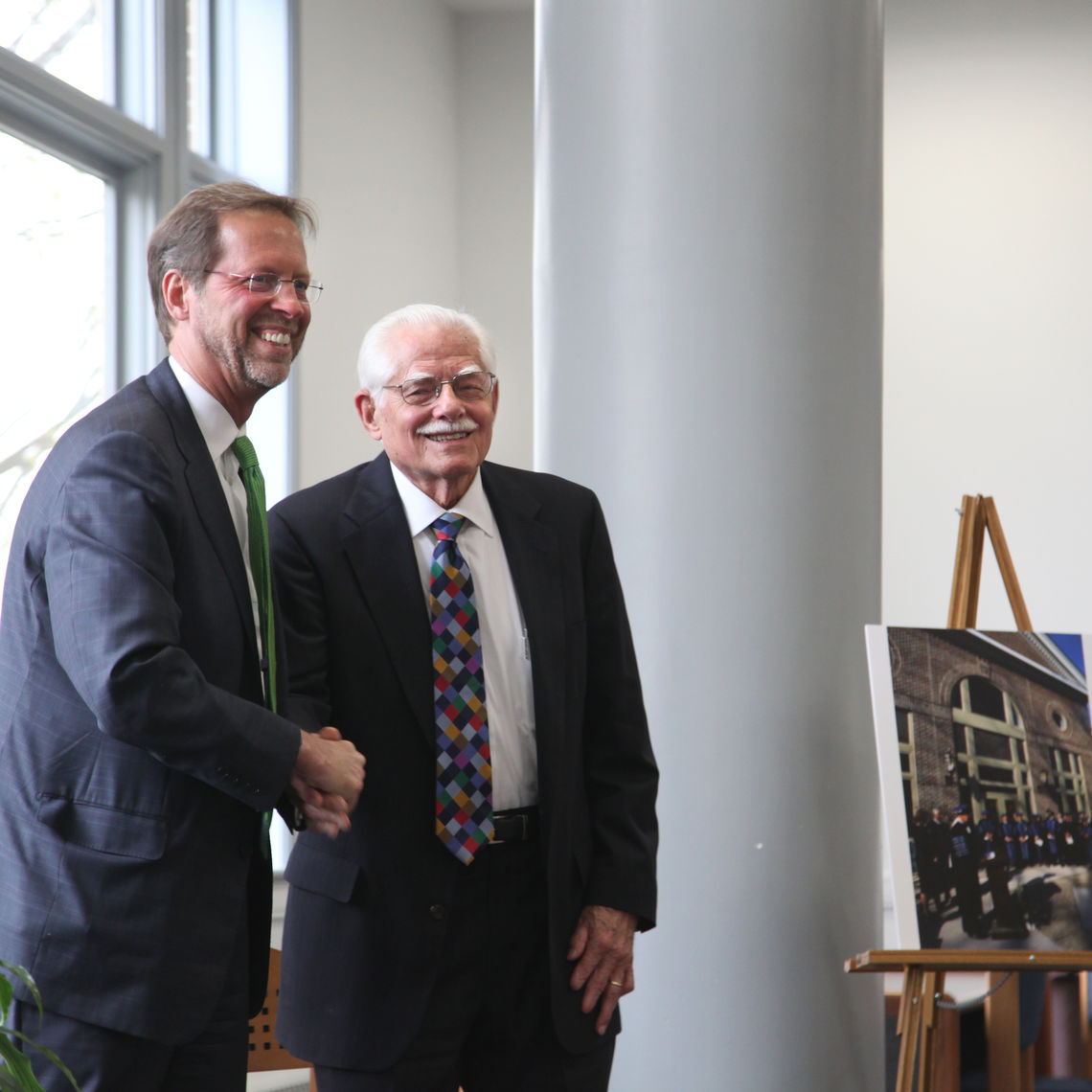 The Martin Library of the Sciences celebrated its 25th anniversary April 21 with a reception and remarks from F&M President Daniel R. Porterfield and alumnus Aaron J. Martin '50, a chemistry professor and an F&M emeriti trustee for whom the library is named.