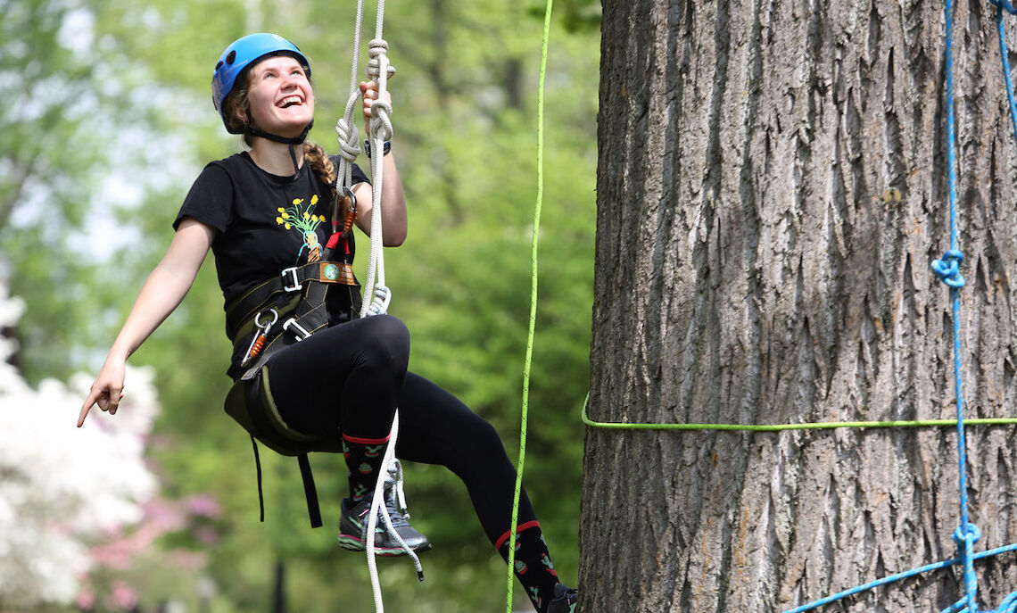 F&M sophomore Camden McMillian, one of Gotsch's summer research students, pulls herself up into the tree.