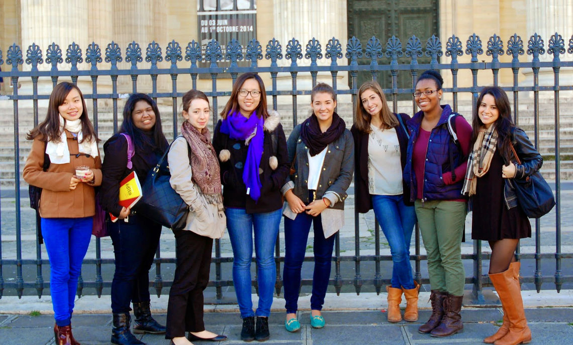 """Professor of History Maria Mitchell's class visits the Pantheon, the so-called French """"temple of the nation,"""" in conjunction with their study of the French Resistance during World War II. They went to see the memorialization of Jean Moulin, a high-profile resistance fighter, in the crypt."""