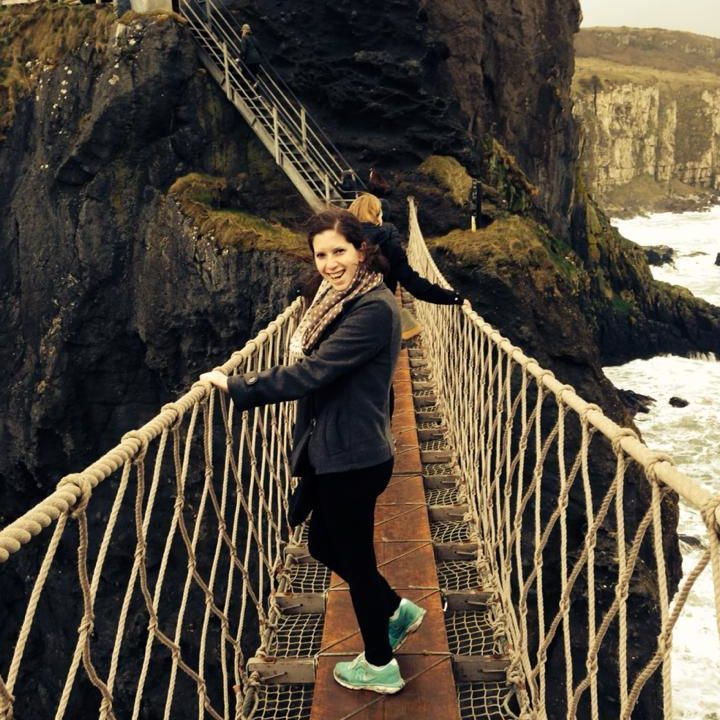 Not far from Belfast, Elana pauses on a rope bridge -- a dizzying 100 feet above the North Atlantic -- that spans the gap between the mainland to a small island, Carrick-a-Rede. The area is known for its exceptional natural beauty and stunning views.