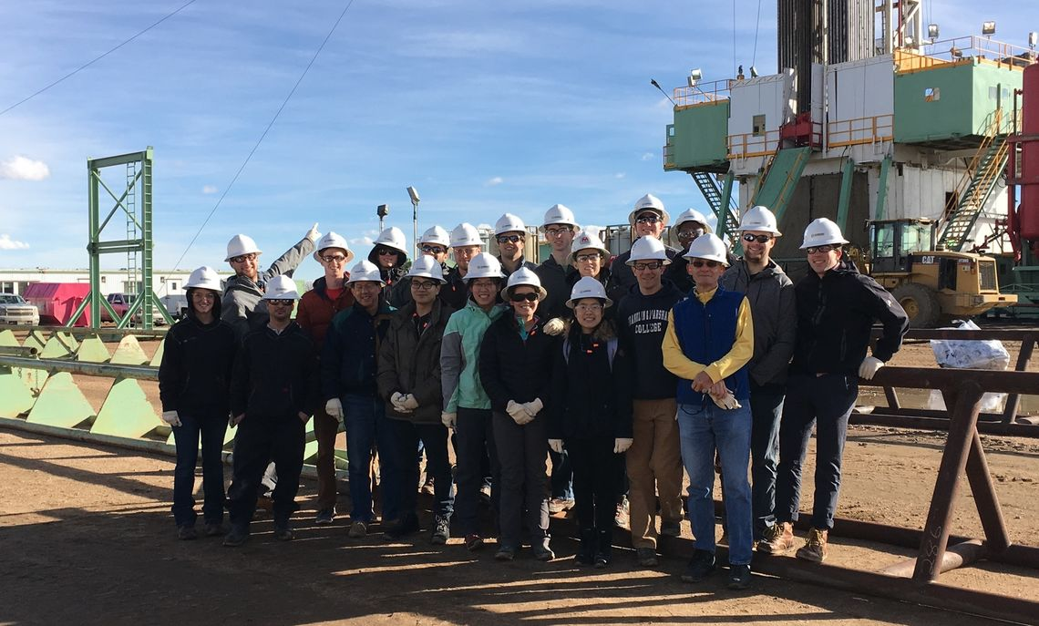 On their tour of the various energy sources that serve the nation, F&M students and faculty visited an oil drilling rig.