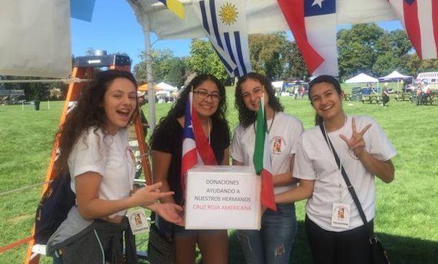 CBL students volunteering at the Festival Latinoamericano in Longs Park in September 2017.