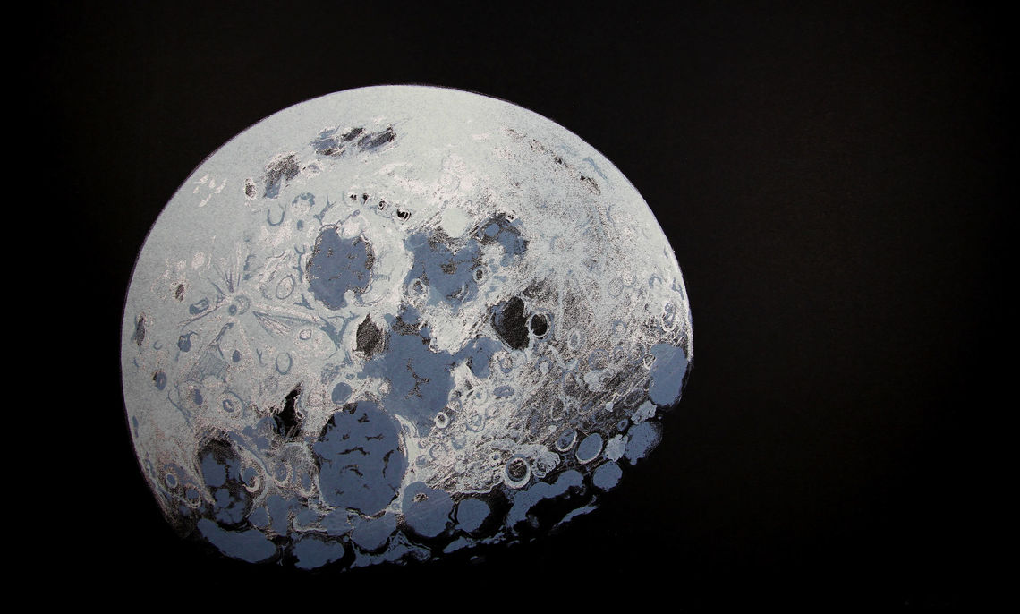 """Lowell Nesbitt (American, 1933-1993), Untitled, from the series Moon Shot, edition of 98, 1969, Color lithograph, 22 x 29 ½"""", Courtesy of the Phillips Museum of Art at Franklin & Marshall College, Gift in honor of Joshua Arnold, '72, #5249"""