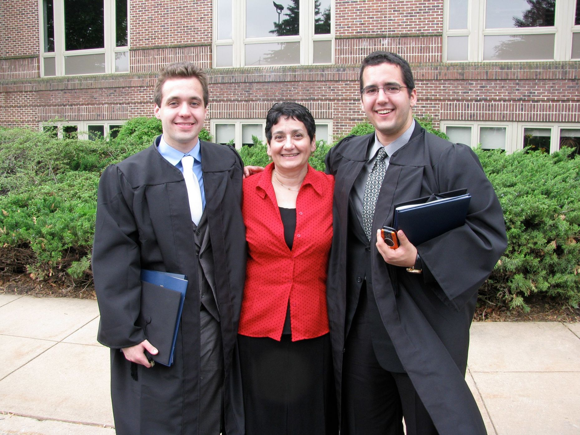 Victor and Ross Myers with mother Toni Myers at their F&M graduation day, 2009.