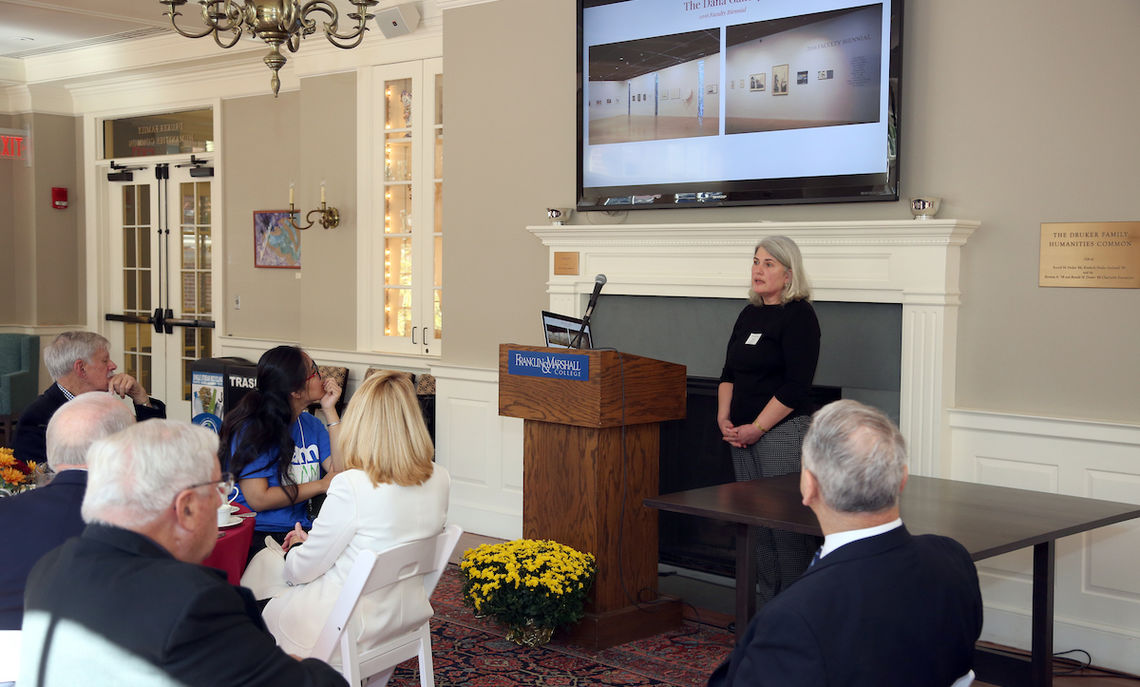 Nevonian luncheon speaker Tamara Goeglein, professor of English and interim director of the Phillips Museum, discussed how the museum evolved and how exhibitions integrate with the curriculum.