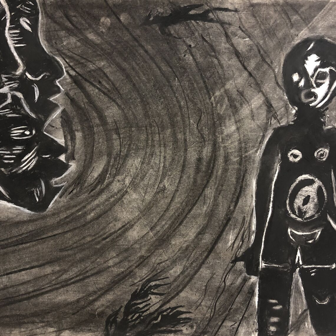 Charcoal illustrations by Jevelson Jean '21