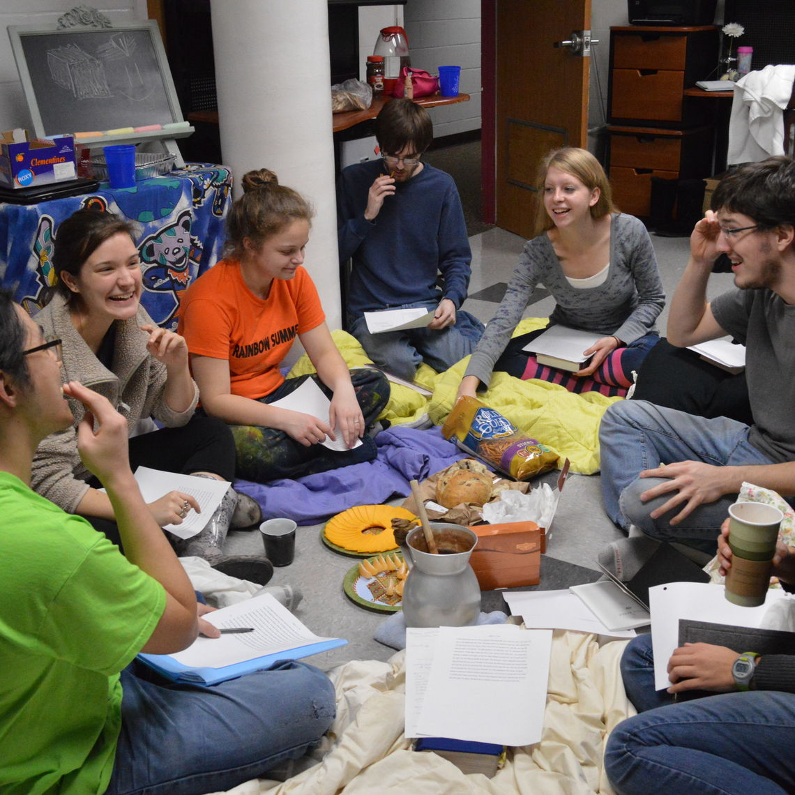 Last Brooks Community group of the semester, enjoying home made hot chocolate in the dorm