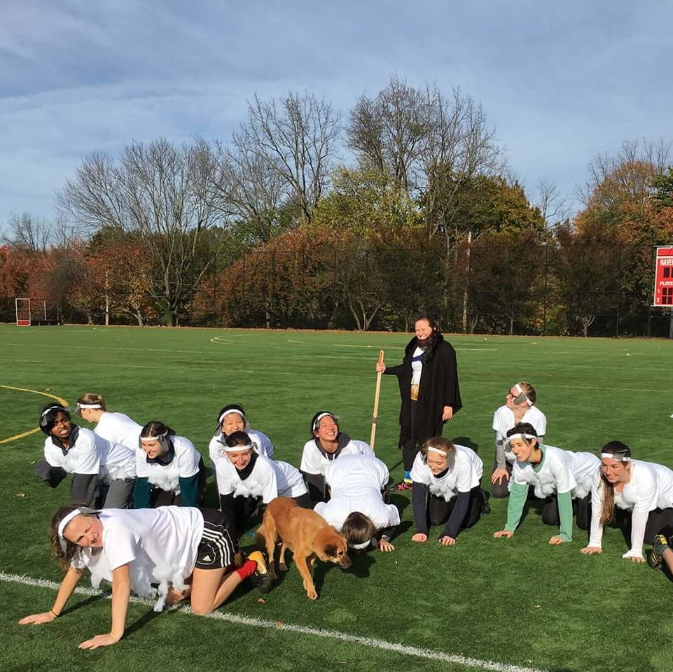 Women's Ultimate Frisbee Haverween Tournament dressed up as a shepherd with her sheep