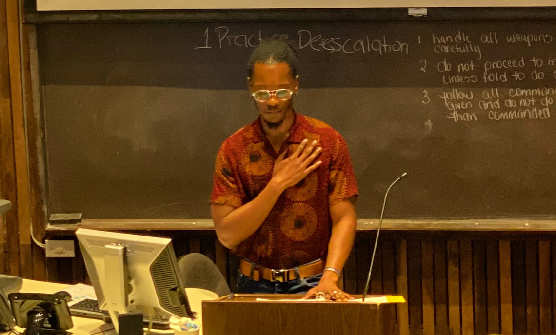Glover presenting a paper related to his work at the Islands in Between Conference in the Virgin Islands.