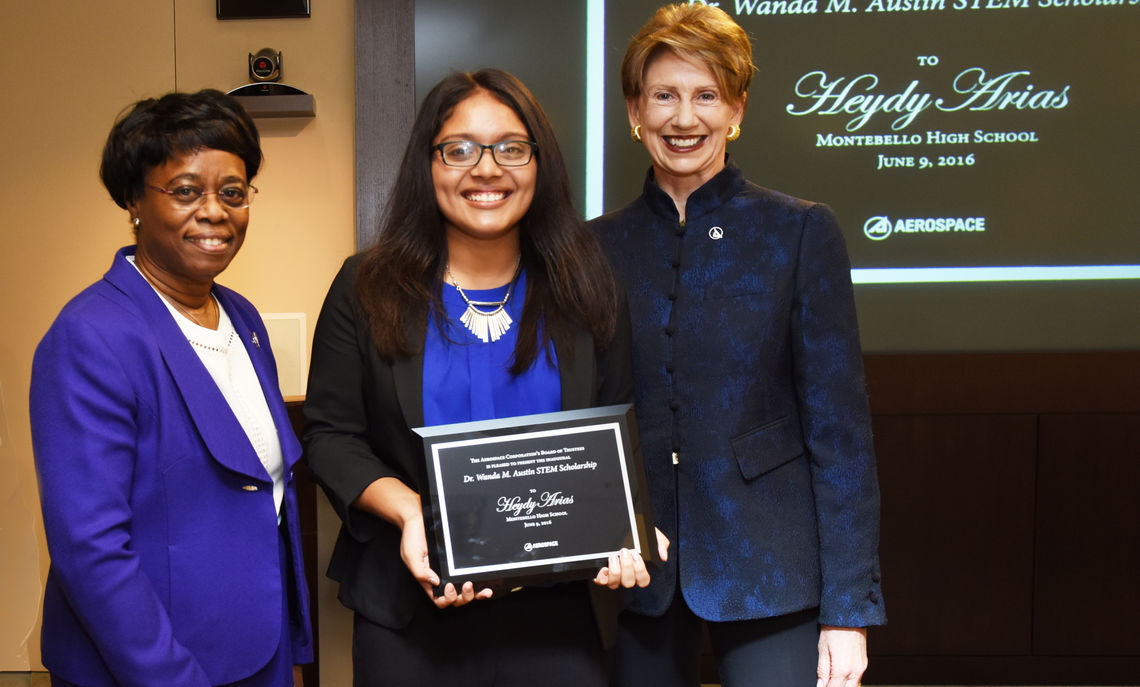 Austin and the Aerospace Corp. launched the Dr. Wanda M. Austin STEM Scholarship, a four-year scholarship awarded each year to a promising student from a Title 1 high school in the Los Angeles area.