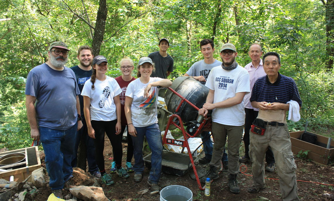 F&M students, staff, and Columbia University staff installing the new seismic station at Millport Conservancy.