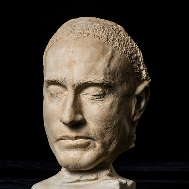 This plaster death mask of former F&M professor Andrew Thomas Gilmore, who graduated from F&M in 1878, was created on Feb. 5, 1918. A death mask is created by making a cast of a person's face shortly after death, serving as a reminder of the person's likeness or for the creation of a portrait. Gilmore's mask was donated by Charles Bowman.