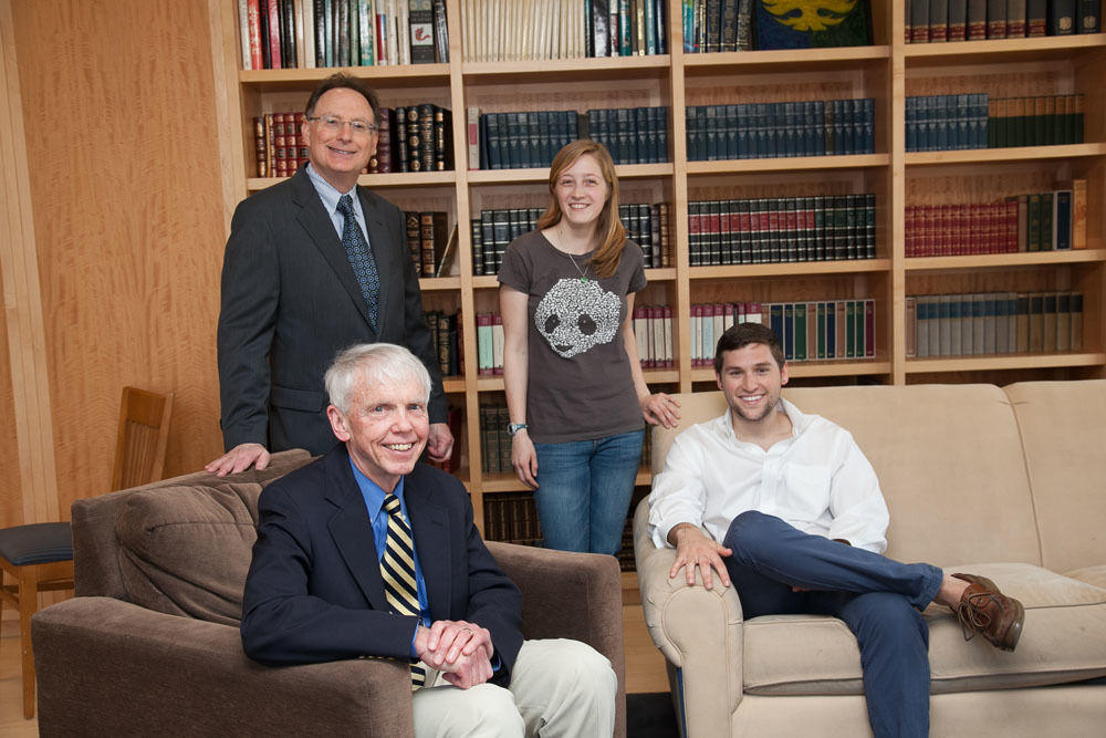 Robert Steinwurtzel, Esq., '75, P '16 (top left) established a fellowship in honor of his professor and mentor, Grier Stephenson (lower left).Julia Zielinski '16 and Patrick Stehn '14 were the first two recipients of the fellowship.