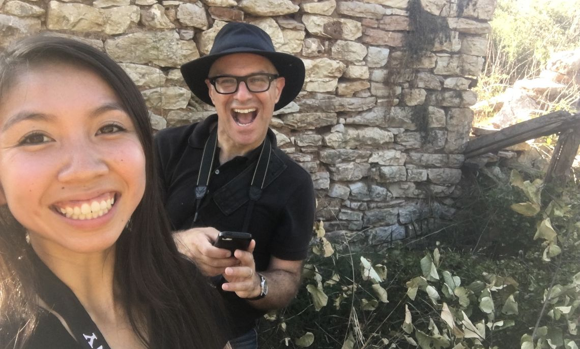 Nancy Le '20 and Kostis Kourelis mapping the ruined house of a Greek immigrant who came to the US during summer Hackman scholarship research.