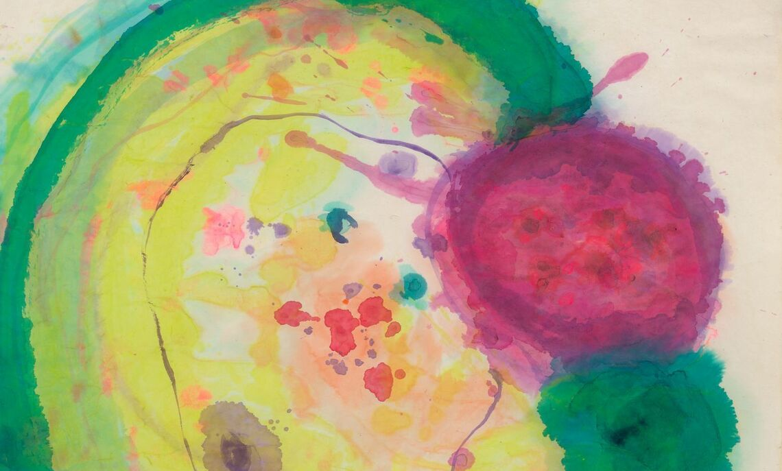 """Vivian Springford. Untitled, c. 1968. Water-based media staining on asian-style paper, 27 ½ x 27 ½""""."""