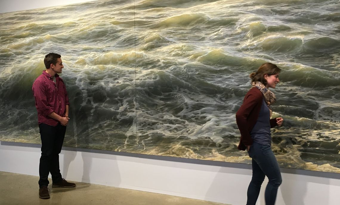"ENV 470 Marine Protected Areas students visiting the ""Then this"" exhibit of large seascape paintings by Ran Ortner at the Phillips Museum F&M, Spring 2016"