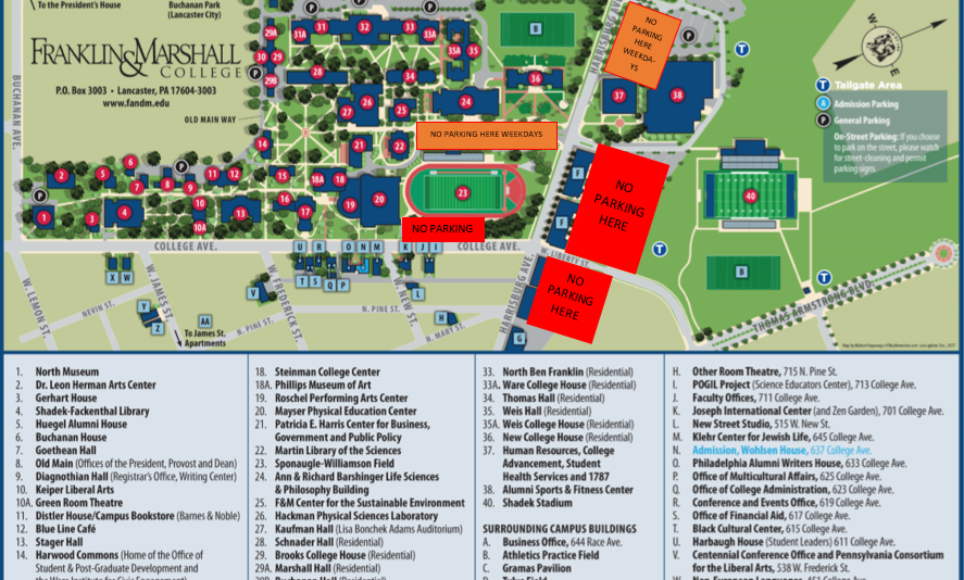 delaware state university campus map Franklin Marshall Driving Directions Parking delaware state university campus map