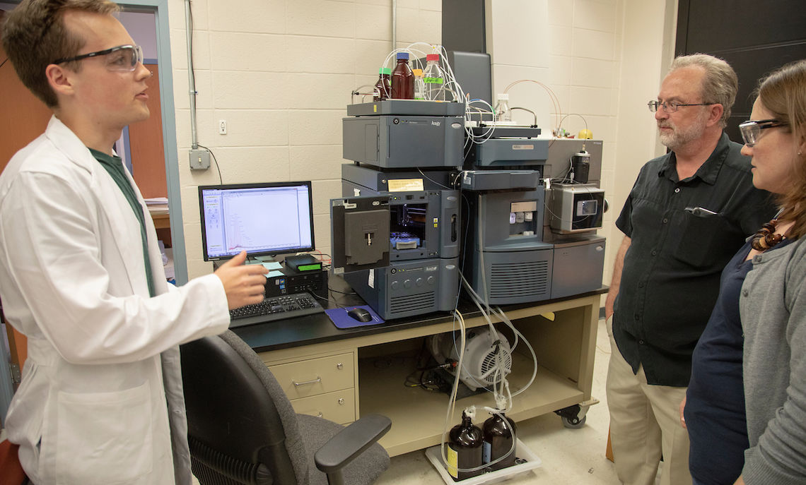 Working with Associate Professor of Chemistry Phillips-Piro, Bogardus' mass spectrometry work is done on a state-of-the-art Waters QT of Mass Spectrometer, partially funded by Dr. George Martin '79. Professor of Chemistry Ken Hess maintains the instrument.