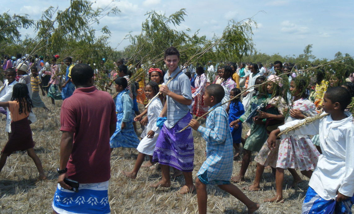 Fullam participates in the Feraomby ceremony in the village of Anororo in the Lac Alaotra region of Madagascar.