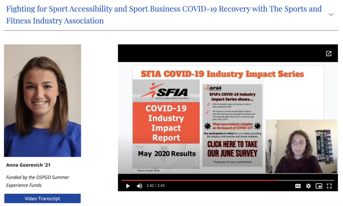 Anna Goorevich '21 discusses COVID-19's impact on sport businesses