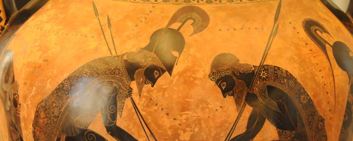 Attic amphora by Exekias depicting Achilles and Ajax playing a game during the Trojan War.