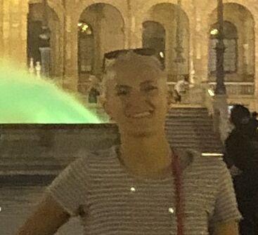 Anna Milton on the Plaza España in Punta Umbria, Spain.