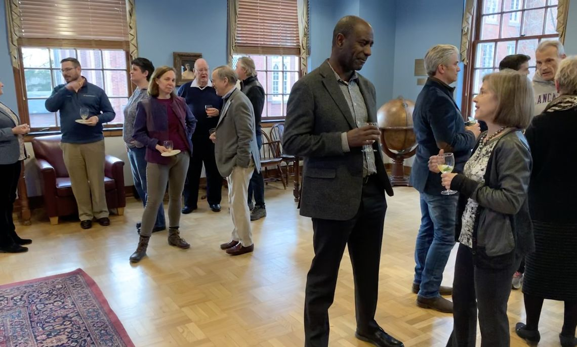 Faculty, administrators and trustees gathered on Feb. 27 in the Academy Room at Shadek-Fackenthal Library for  the 18th annual Celebrating Scholarship reception.